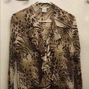 Notations animal print blouse L